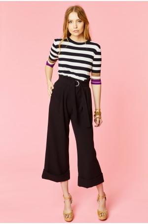 Pantalon court à taille haute ceinturée et bas larges à revers - PLANET